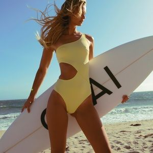 Claudia Solid and Striped Yellow One Piece